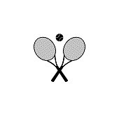 istock Tennis rackets with ball vector icon 918810348