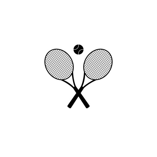 Tennis rackets with ball vector icon Ball, Equipment, Tennis Racket, Tennis, Icon racket stock illustrations