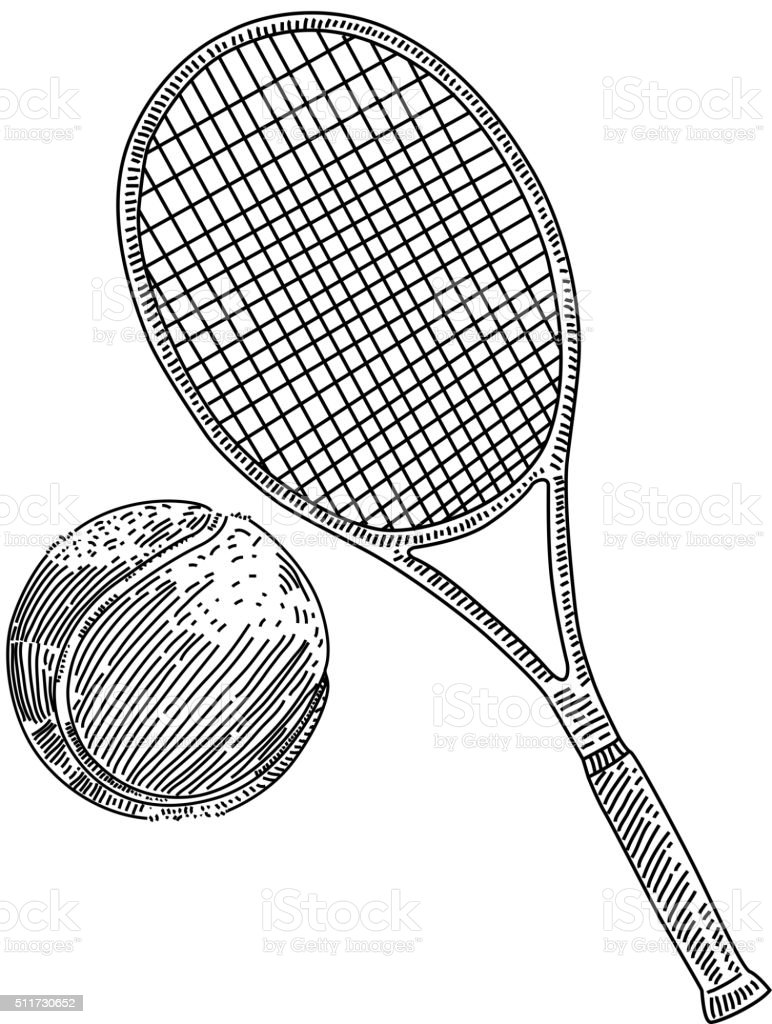 Tennis racquet and ball Drawing vector art illustration