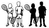 istock Tennis Ready Kids Silhouette 1285568061