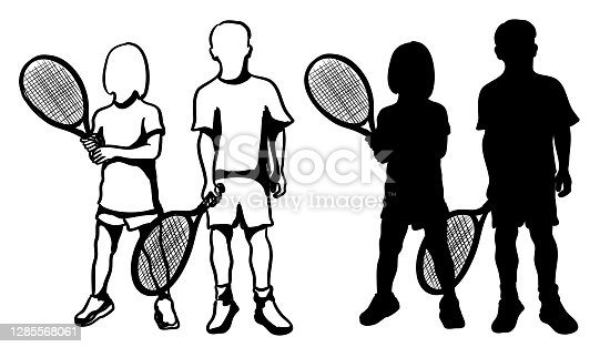 A boy and a girl are posing for this tennis lessons illustration