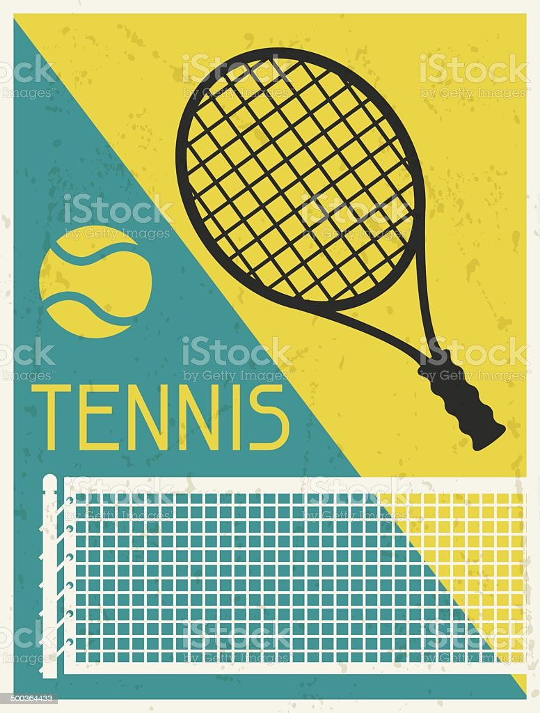 Tennis. Retro poster in flat design style. vector art illustration