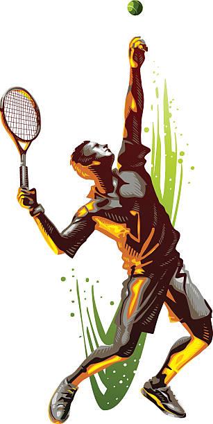 tennis serve - tennis stock illustrations, clip art, cartoons, & icons