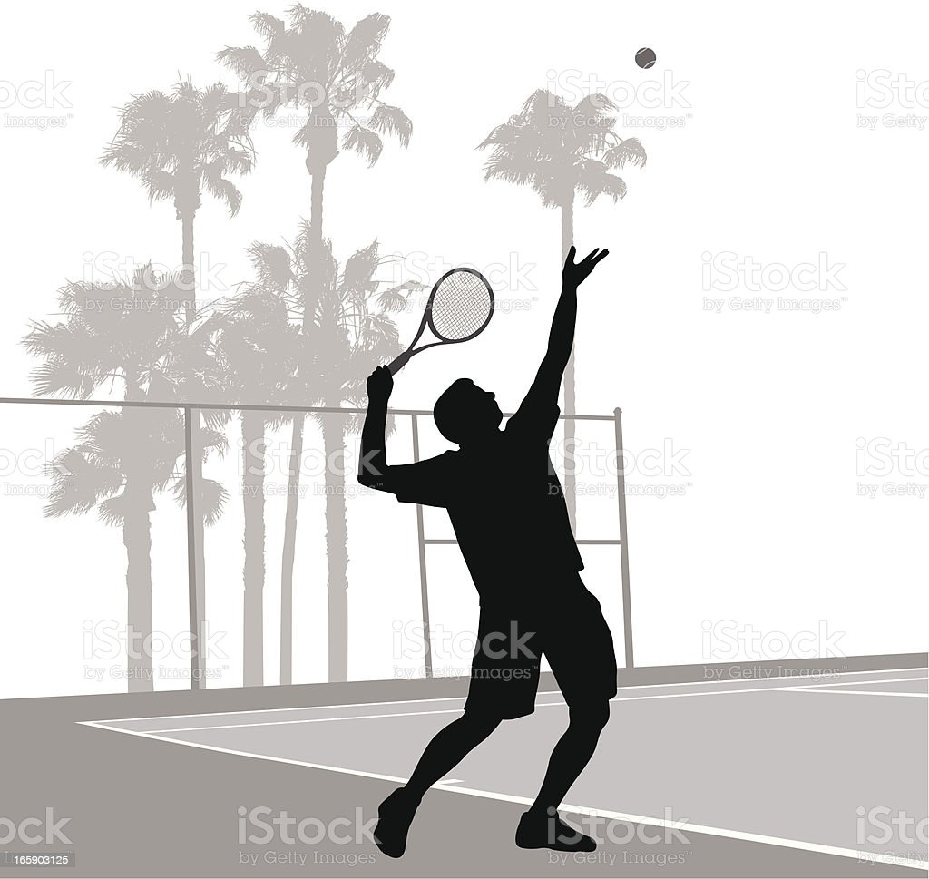 Tennis Serve Vector Silhouette royalty-free tennis serve vector silhouette stock vector art & more images of activity