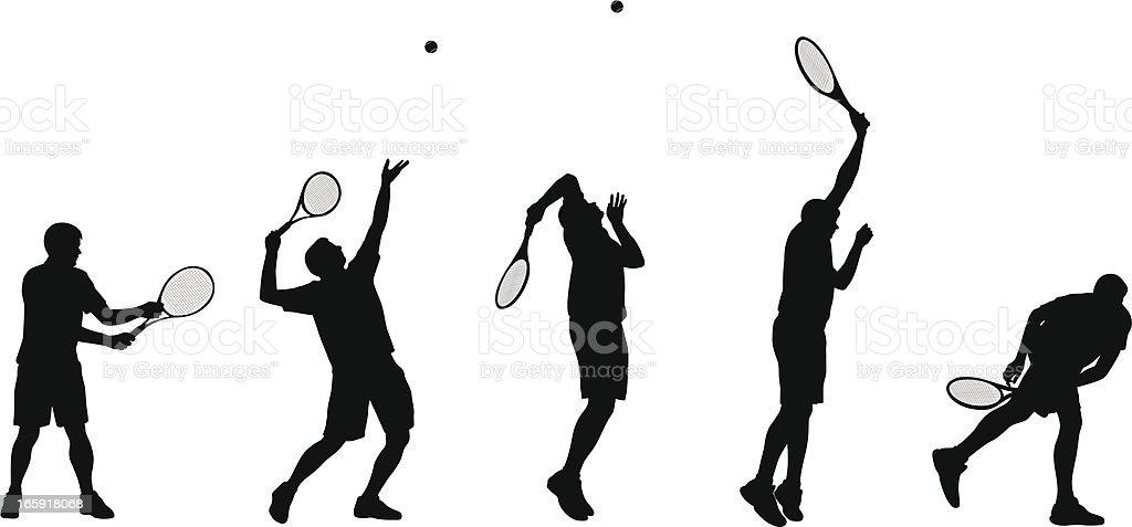 Tennis Serve Vector Silhouette royalty-free stock vector art