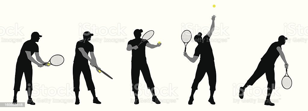 Tennis Service Vector Silhouette royalty-free tennis service vector silhouette stock vector art & more images of activity