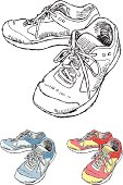 Vector illustration of a pair of tennis shoes. Black and white, red and blue options all included, on separate layers and grouped for easy editing in any vector program.