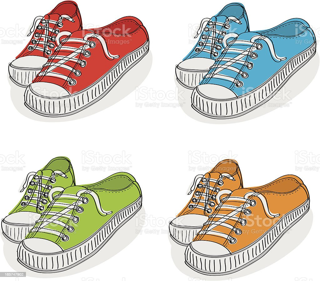 tennis shoes stock vector art more images of art 165747902 istock rh istockphoto com cartoon character tennis shoes cartoon tennis shoes pictures