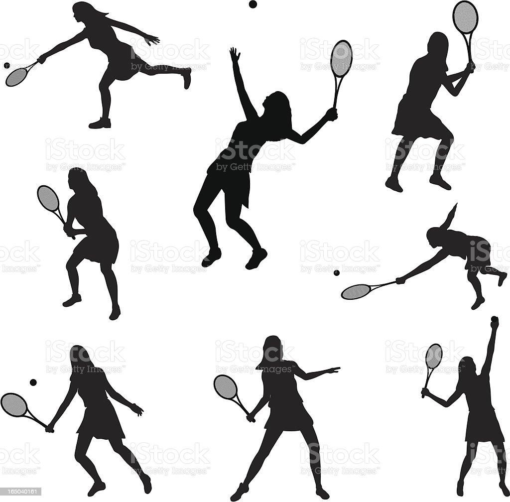 Tennis Silhouette Collection (vector+jpg) vector art illustration
