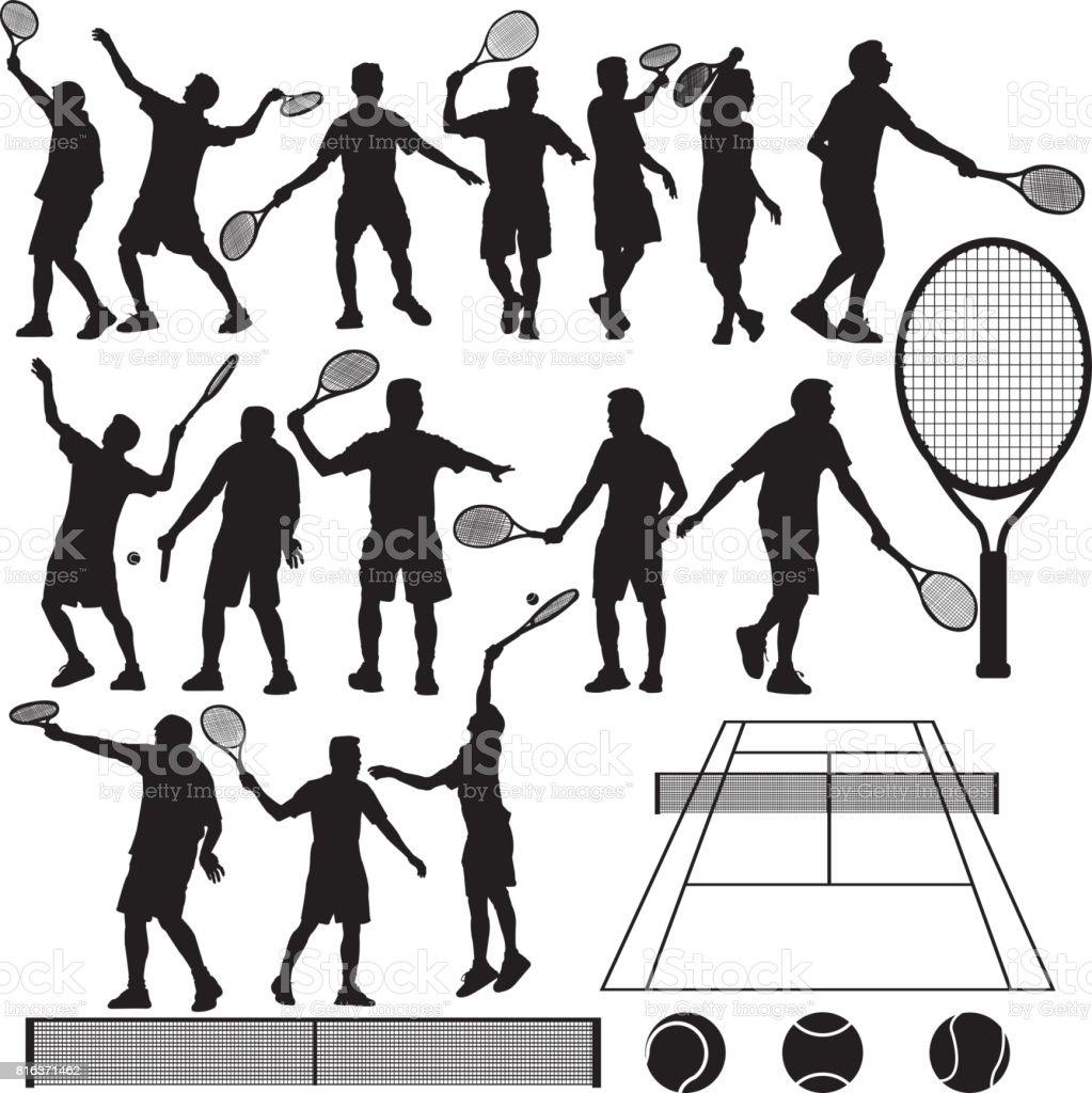 Tennis Silhouette Vector vector art illustration