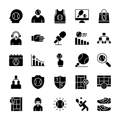 Tennis Solid Vector Icons
