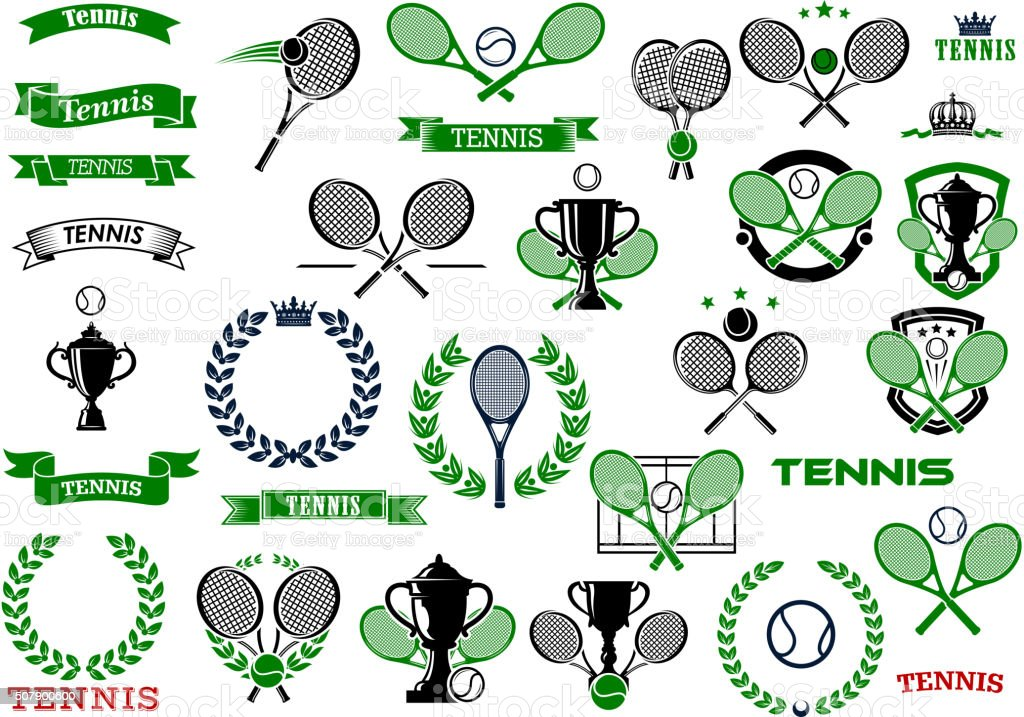Tennis sport game icons and symbols vector art illustration