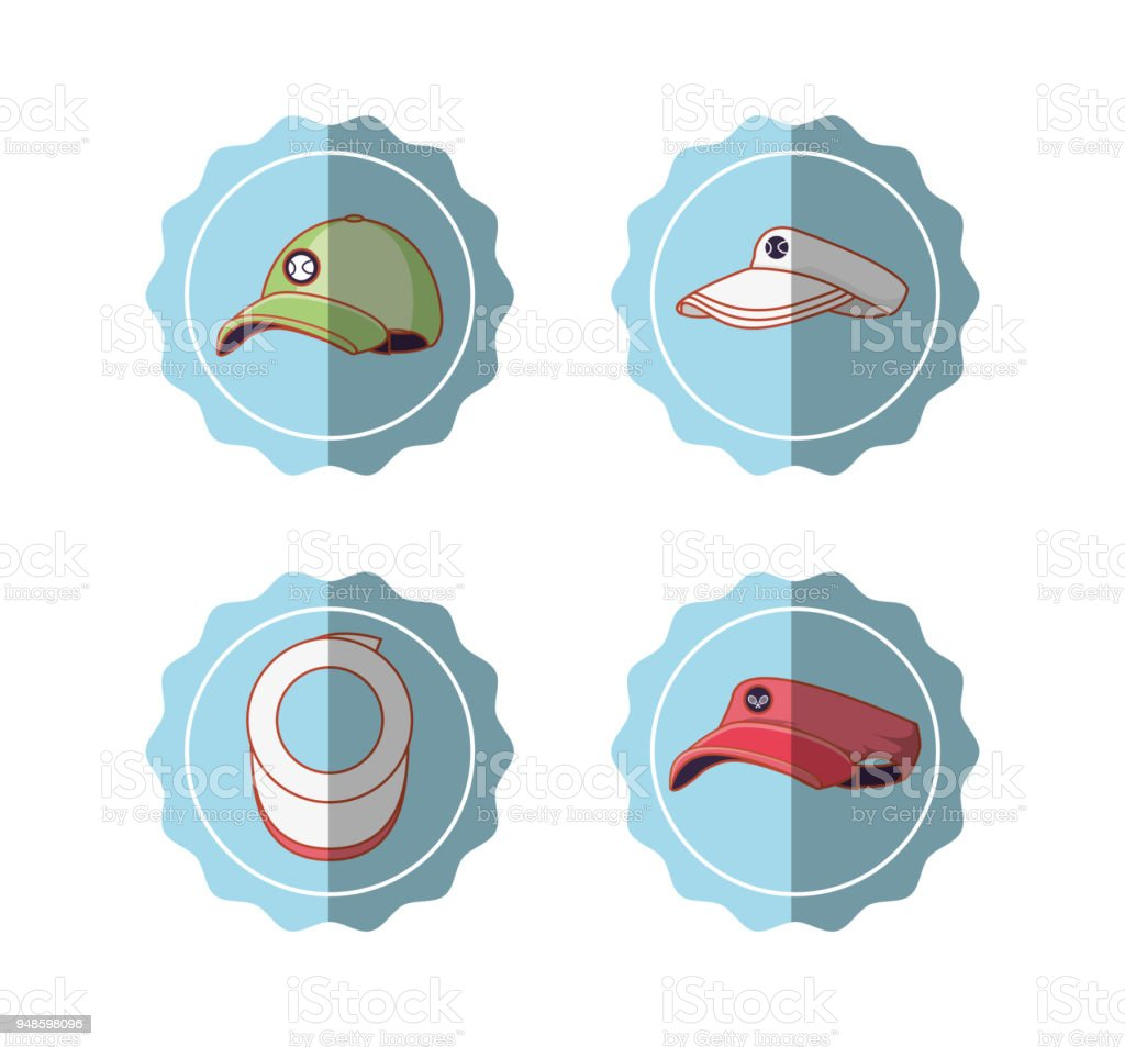 tennis sport set icons vector art illustration