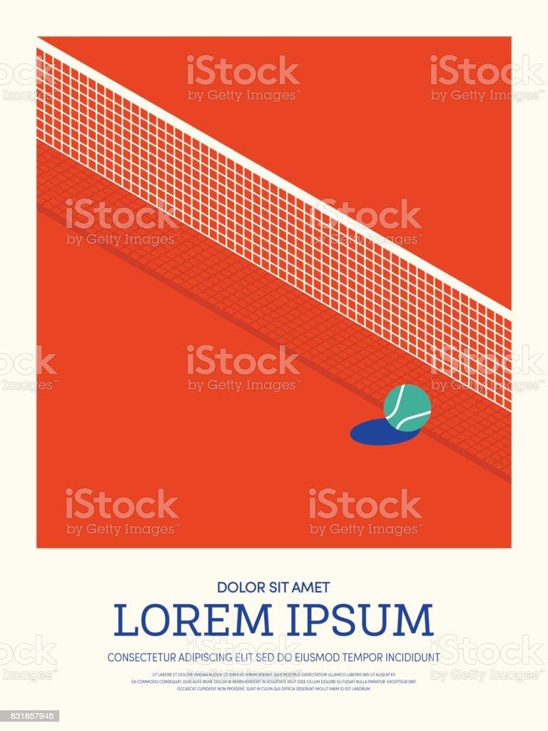 Fundo de cartaz do tênis esporte estilo retrô vintage - ilustração de arte em vetor