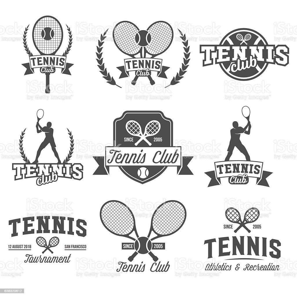 テニススポーツロゴ、ラベル、エンブレム、デザイン要素 ベクターアートイラスト