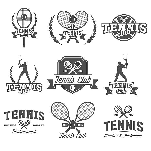 Tennis sports logo, label, emblem, design elements Set of tennis badge logotype template. Club emblem, college league logo, one color design elements, sport tournament, contest, tug, rush, competition. racket stock illustrations