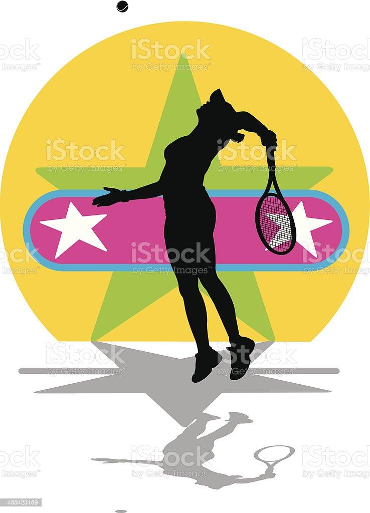 Tennis Star - Female vector art illustration