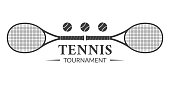 Tennis tournament logo or badge with two rackets and tennis balls. Vector illustration.