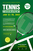 istock Tennis tournament poster template with racket and ball 1217130459