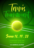 Green vector poster for a tennis competition
