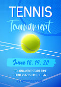 Blue vector poster for a tennis competition