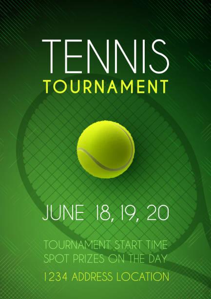stockillustraties, clipart, cartoons en iconen met poster tennis toernooi - tennis