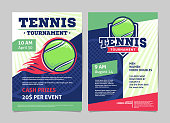 Tennis tournament posters with a tennis ball in the flame and on the shield., flyer template vector design