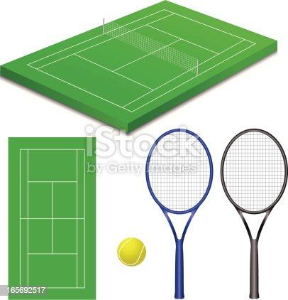 Ilustración de Canchas De Tenis y más banco de imágenes de Bola de ...