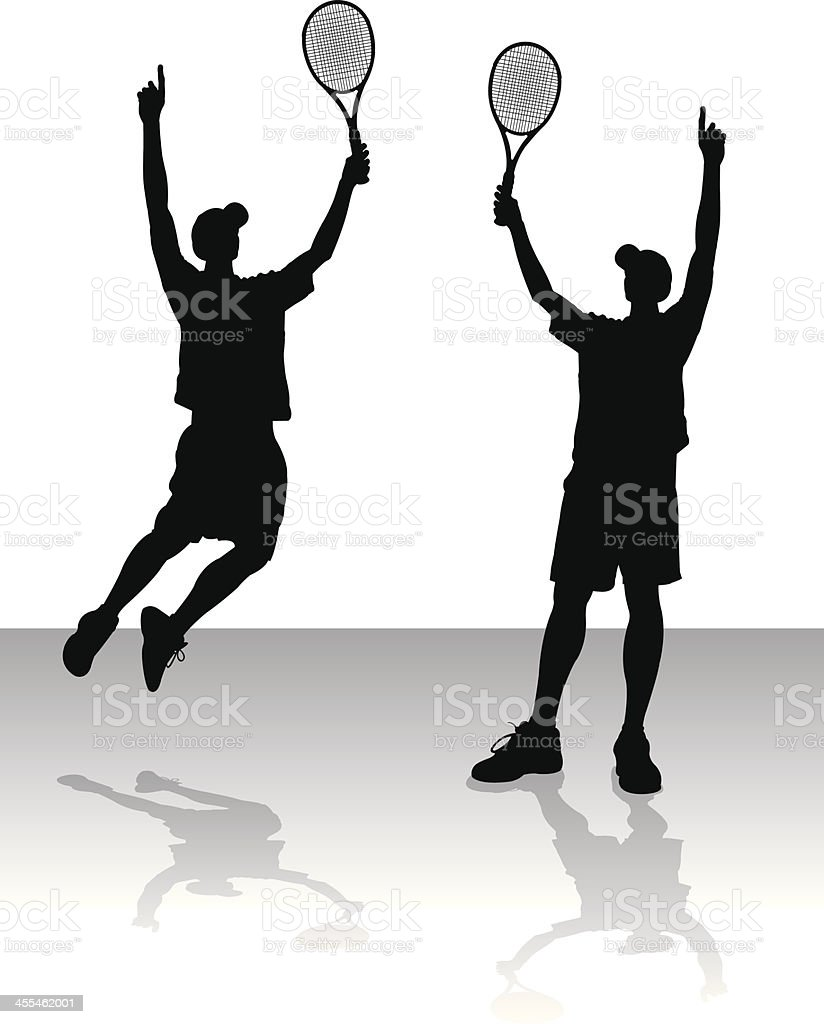 Tennis Victory Silhouettes - Male vector art illustration