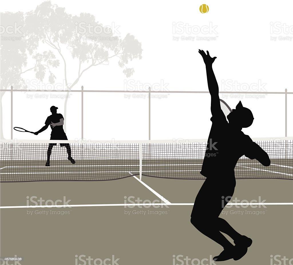 TennisMatch vector art illustration