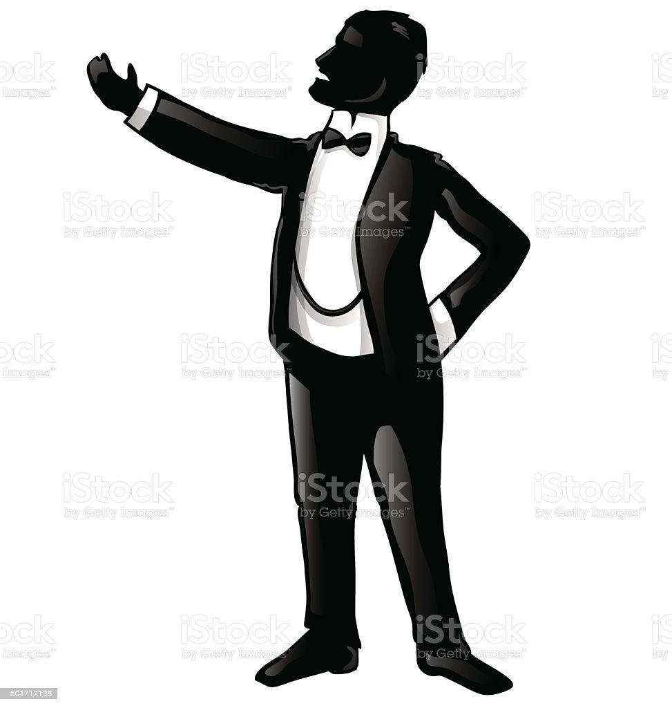tenor opera singer silhouette vector art illustration