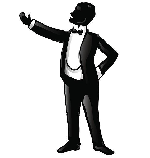 stockillustraties, clipart, cartoons en iconen met tenor opera singer silhouette - tenor