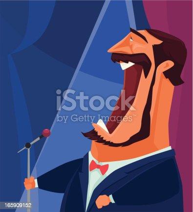 vector character of man singing….
