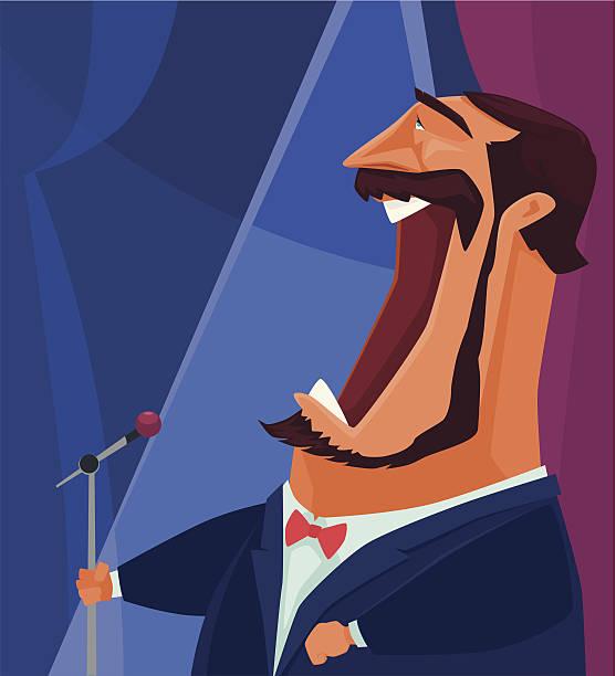 stockillustraties, clipart, cartoons en iconen met tenor singing - tenor