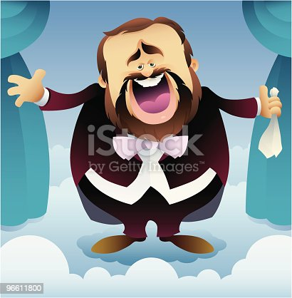 vector illustration of tenor singing in the sky theatre.