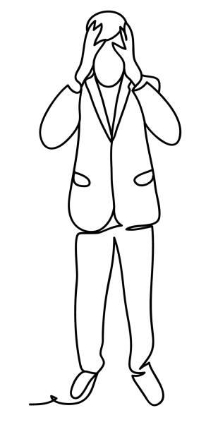 Homme tendue en costume saisissant sa tête stress et penser à la solution du problème. Illustration de concept de Business. Dessin au trait continu. Isolé sur fond blanc. Illustration vectorielle - Illustration vectorielle