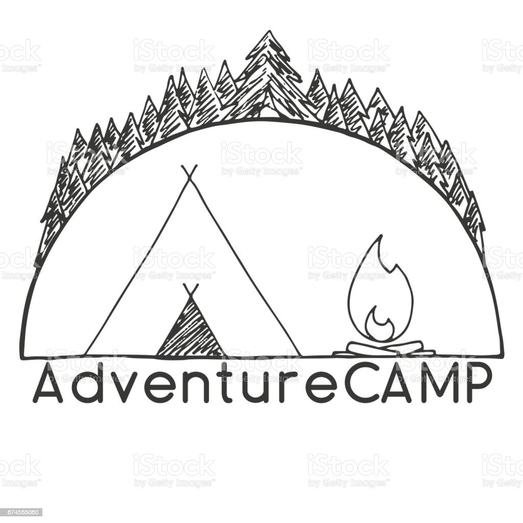Tent And Bonfire Against The Trees Emblem Logo Camping Hand Drawn Vector Illustration