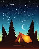 Camping scene with tent and starry sky. All colors are global.