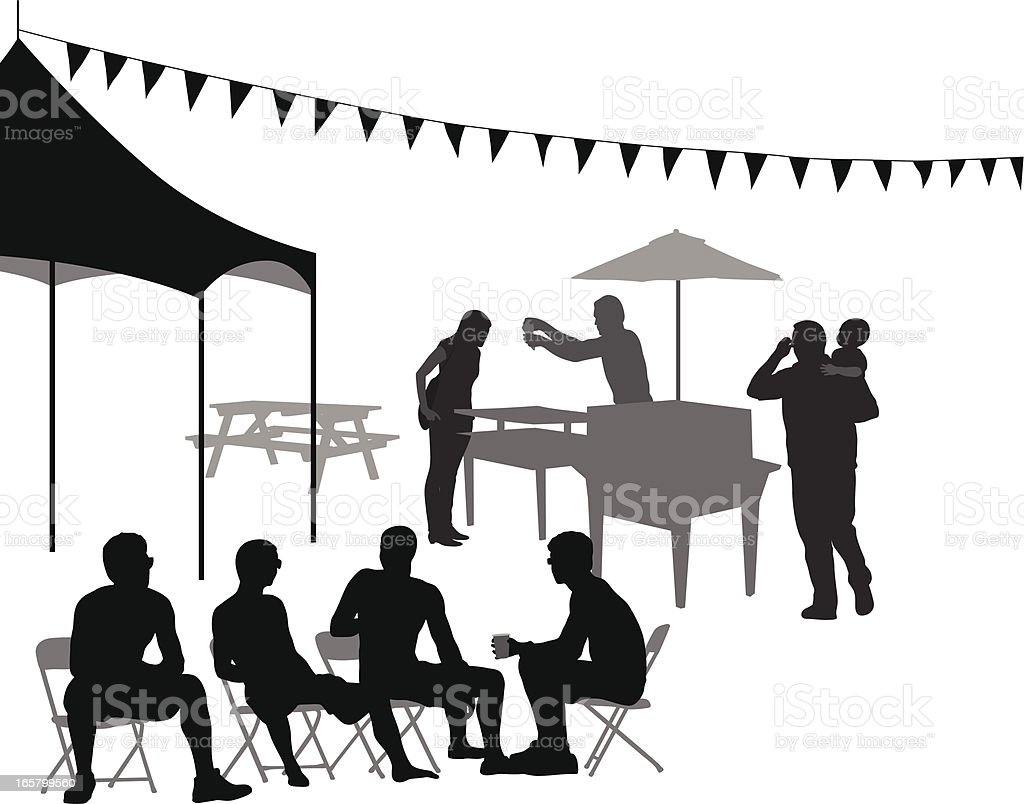 Tent' BBQ Vector Silhouette royalty-free stock vector art