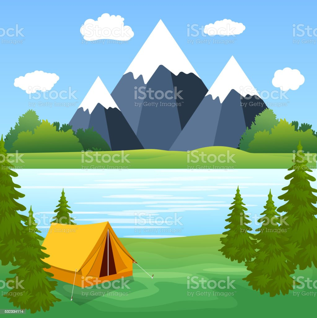Tent Camping Tourist Forest Mountain Expedition vector art illustration