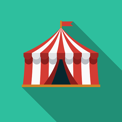 Tent Flat Design Arts Icon with Side Shadow