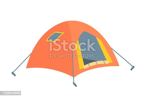 Scout tourist tent. Equipment for travel and camping isolated on white background. Hunting adventure and outdoor hiking item for overnight stay, rest and relax. Tourism and sport. Vector illustration