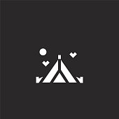 tent icon. Filled tent icon for website design and mobile, app development. tent icon from filled hippies collection isolated on black background.