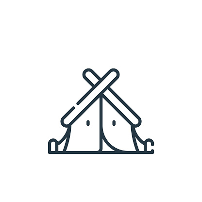 tent icon vector from adventure concept. Thin line illustration of tent editable stroke. tent linear sign for use on web and mobile apps, logo, print media..