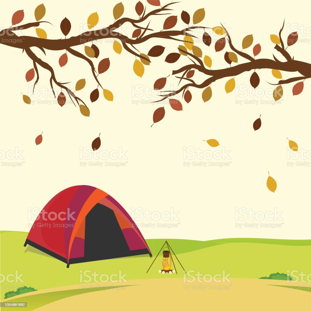 Tent in the autumn forest. vector art illustration