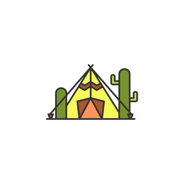 tent in the desert colored icon. element of wild west icon for mobile concept and web apps. cartoon tent in the desert icon can be used for web and mobile - bedouin tent stock illustrations, clip art, cartoons, & icons
