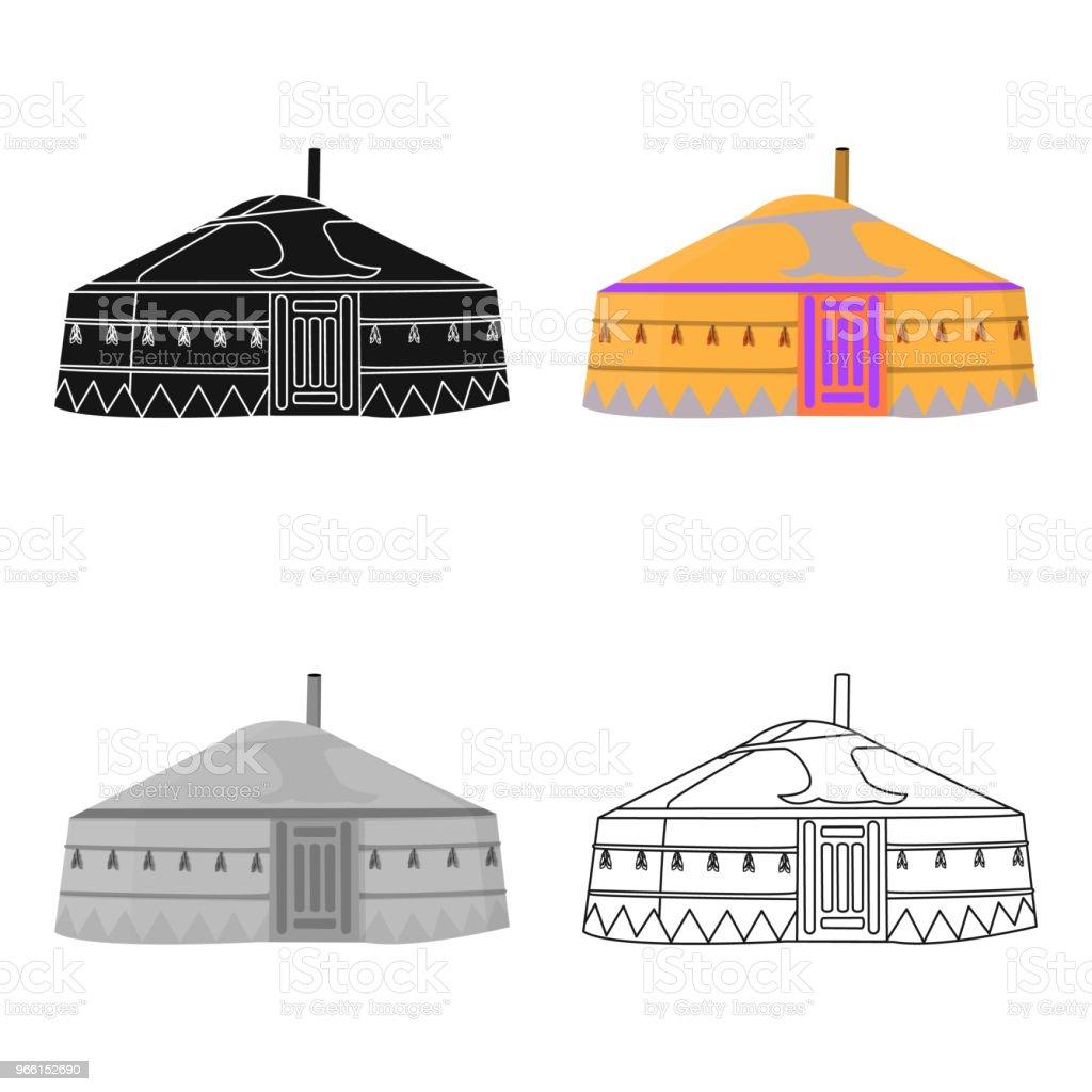 Tent in de Mongoolse patronen. Mongoolse tent. Huisvesting van de oude Mongols.Mongolia slechts één pictogram in cartoon stijl vectorillustratie symbool voorraad web. - Royalty-free Antiek - Toestand vectorkunst