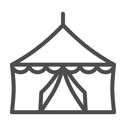 Tent line icon, festival concept, Circus tent sign on white background, festival pavilion icon in outline style for mobile concept and web design. Vector graphics.