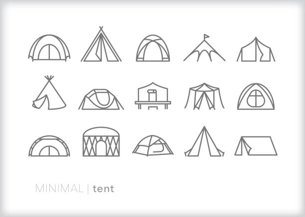 Tent line icon set Set of 15 tent line icons for traveling, vacation, camping, summer camp, or recreational living teepee stock illustrations