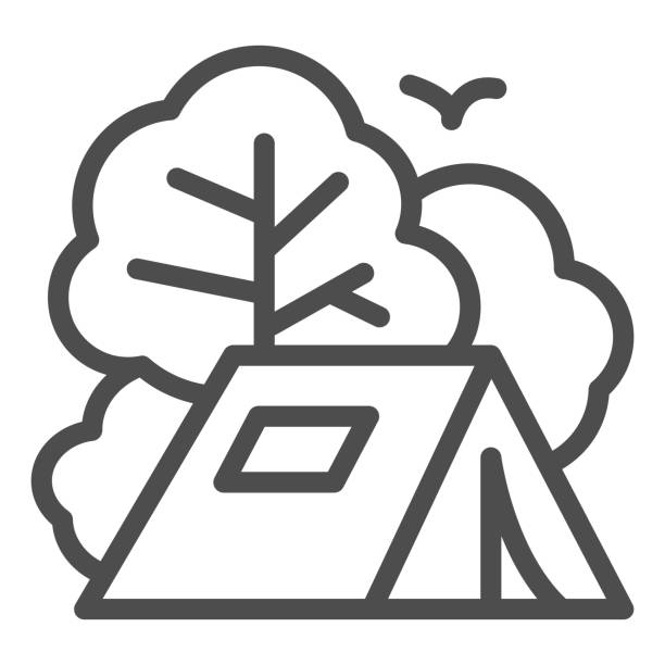 ilustrações de stock, clip art, desenhos animados e ícones de tent line icon, travel concept, tourist tent sign on white background, camping icon in outline style for mobile concept and web design. vector graphics. - isolated house, exterior